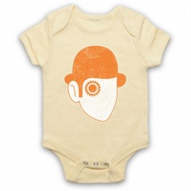 A Clockwork Orange Droog Face Light Yellow Baby Grow