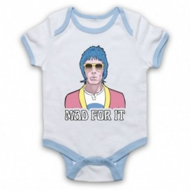 Oasis Liam Gallagher Mad For It White & Light Blue Baby Grow