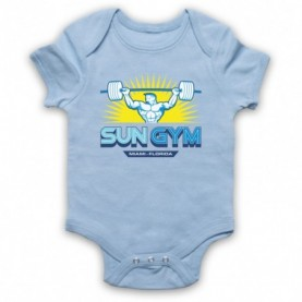 Pain & Gain Sun Gym Light Blue Baby Grow