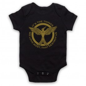 Hunger Games Mockingjay It's The Things We Love Most Destroy Us Black Baby Grow