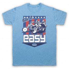 Easy Rider Take It Easy Mens Sky Blue T-Shirt