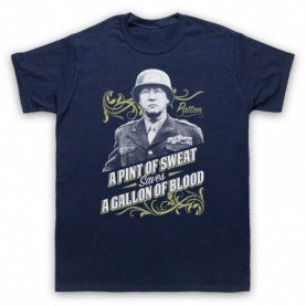 General Patton A Pint Of Sweat Saves A Gallon Of Blood Mens Navy Blue T-Shirt