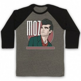 Smiths Morrissey Moz Adults Grey & Black Baseball Tee