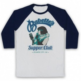 Boardwalk Empire Babette's Supper Club Woman Singer Adults White & Navy Blue Baseball Tee