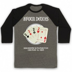 Boardwalk Empire The Four Deuces Adults Grey & Black Baseball Tee