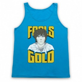 Stone Roses Fools Gold Adults Neon Blue Tank Top