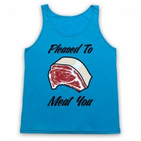 Pleased To Meat You Funny Slogan Adults Neon Blue Tank Top