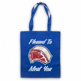 Pleased To Meat You Funny Slogan Royal Blue Tote Bag