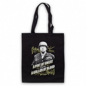 General Patton A Pint Of Sweat Saves A Gallon Of Blood Black Tote Bag