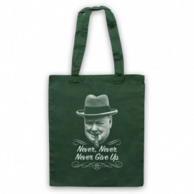 Winston Churchill Never Never Never Give Up Dark Green Tote Bag