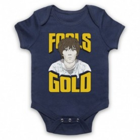 Stone Roses Fools Gold Navy Blue Baby Grow