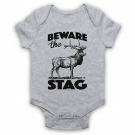 Beware The Stag Stag Do Slogan Heather Grey Baby Grow