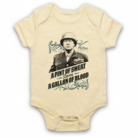 General Patton A Pint Of Sweat Saves A Gallon Of Blood Light Yellow Baby Grow