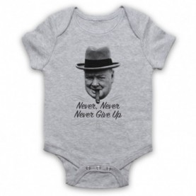 Winston Churchill Never Never Never Give Up Heather Grey Baby Grow
