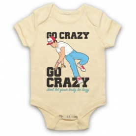 Crazy Legs Go Crazy Don't Let Your Body Be Lazy Breakdancing Icon Light Yellow Baby Grow
