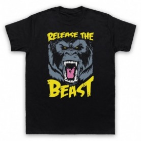 Release The Beast Bodybuilding Gym Workout Slogan Mens Black T-Shirt