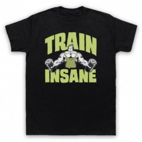 Train Insane Bodybuilding Gym Workout Slogan Mens Black T-Shirt