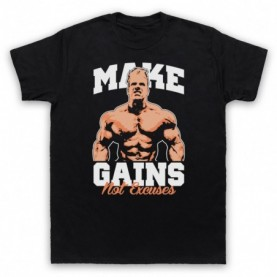 Make Gains Not Excuses Bodybuilding Gym Workout Slogan Mens Black T-Shirt