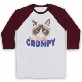 Grumpy Cat Always Grumpy Adults White & Maroon Baseball Tee