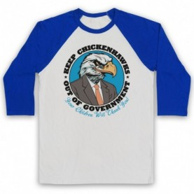Keep Chickenhawks Out Of Government Political Slogan Adults White & Royal Blue Baseball Tee