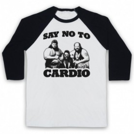 Say No To Cardio Earthquake Typhoon Wrestlers Adults White & Black Baseball Tee