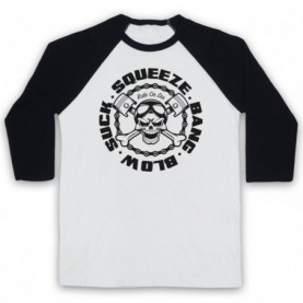 Suck Squeeze Bang Blow Ride Or Die Four Stroke Engine Adults White & Black Baseball Tee