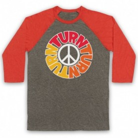 Byrds Turn Turn Turn Adults Grey & Light Red Baseball Tee