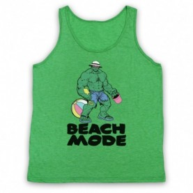 Beach Mode Bodybuilding Gym Workout Slogan Adults Heather Green Tank Top
