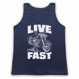 Live Fast Motorbike Motorcycle Adults Navy Blue Tank Top
