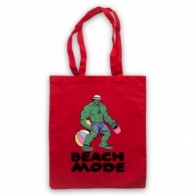 Beach Mode Bodybuilding Gym Workout Slogan Red Tote Bag