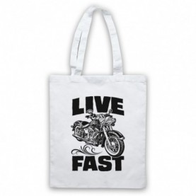 Live Fast Motorbike Motorcycle White Tote Bag