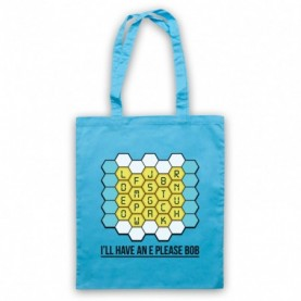 Blockbusters I'll Have An E Please Bob Light Blue Tote Bag