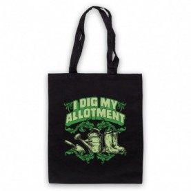 I Dig My Allotment Gardening Slogan Black Tote Bag