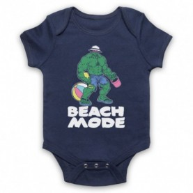 Beach Mode Bodybuilding Gym Workout Slogan Navy Blue Baby Grow