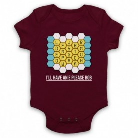 Blockbusters I'll Have An E Please Bob Maroon Baby Grow
