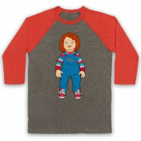 Child's Play Chucky Doll Adults Grey And Light Red Baseball Tee