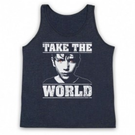 Brightburn Take The World Adults Heather Navy Blue Tank Top