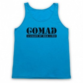 GOMAD A Gallon Of Milk A Day Bodybuilding Slogan Adults Neon Blue Tank Top
