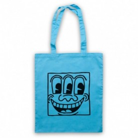 Keith Haring Smiley Face Graffiti Sky Blue Tote Bag