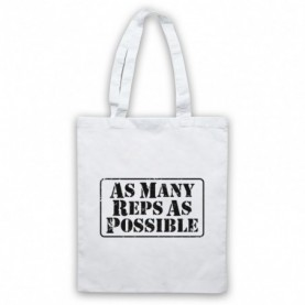 As Many Reps As Possible Crossfit Bodybuilding Slogan White Tote Bag