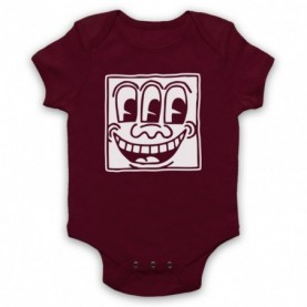 Keith Haring Smiley Face Graffiti Maroon Baby Grow