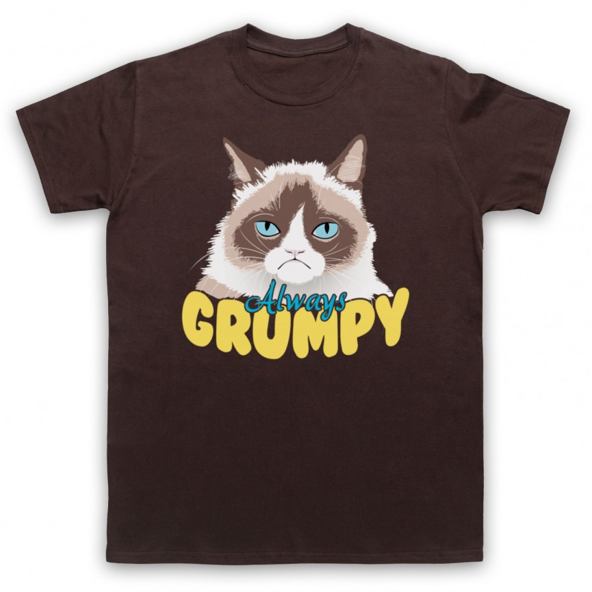 Grumpy Cat Always Grumpy Mens Brown T-Shirt