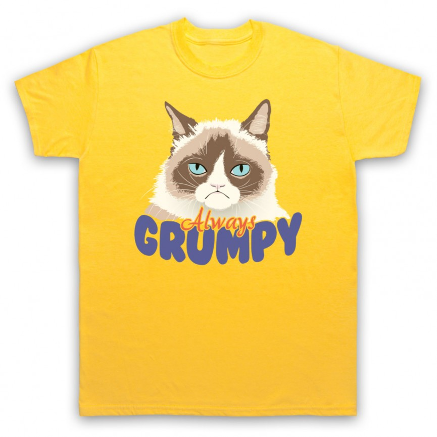 Grumpy Cat Always Grumpy Mens Yellow T-Shirt