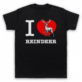 I Love Reindeer Christmas Slogan Mens Black T-Shirt