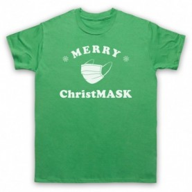 Merry Christmask Face Mask Christmas Parody Mens Green T-Shirt