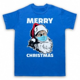 Santa Face Mask Merry Christmas Parody Mens Royal Blue T-Shirt