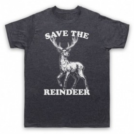 Save The Reindeer Christmas Slogan Mens Heather Slate T-Shirt