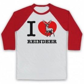 I Love Reindeer Christmas Slogan Adults White And Red Baseball Tee