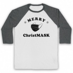 Merry Christmask Face Mask Christmas Parody Adults White And Grey Baseball Tee