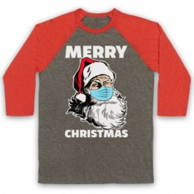 Santa Face Mask Merry Christmas Parody Adults Grey And Light Red Baseball Tee